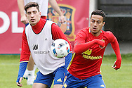 Hector Bellerin and Thiago Alcantara  during training at Aktivpark Montafon Stadion, Schruns<br /> Picture by EXPA Pictures/Focus Images Ltd 07814482222<br /> 28/05/2016<br /> ***UK &amp; IRELAND ONLY***<br /> EXPA-ESP-160530-0074.jpg