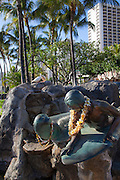 Surfer and monk seal statue, Waikiki, Oahu, Honolulu, Hawaii