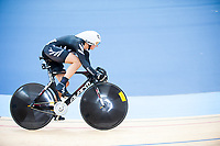 London, England, 12-02-18. Katie SCHOFIELD (NZL) competes in the Women's Sprint at the UCI World Cup, Track Cycling, Olympic Velodrome, London. Part of the London Prepares Olympic preparations.