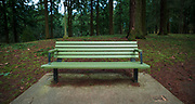 Memorial bench on the west ridge, Mount Tabor Park, Portland, Oregon.