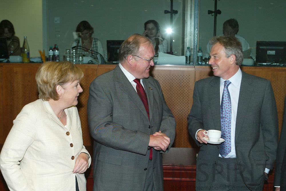 BRUSSELS - BELGIUM - 16 JUNE 2006 -- EU SUMMIT --  Angela MERKEL, German Federal Chancellor, Goeran (Goran) PERSSON (M), Swedish Prime Minister, and Prime Minister Tony BLAIR.  PHOTO: ERIK LUNTANG /