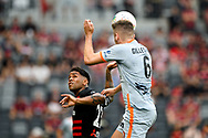 SYDNEY, AUSTRALIA - NOVEMBER 02: Brisbane Roar defender Macauley Gillesphey (6) heads the ball during the round 4 A-League soccer match between Western Sydney Wanderers FC and Brisbane Roar FC on November 02, 2019 at Bankwest Stadium in Sydney, Australia. (Photo by Speed Media/Icon Sportswire)