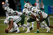 The New York Jets special teams punt coverage team gets set to snap the ball during pregame warmups before the NFL week 9 regular season football game against the Miami Dolphins on Sunday, Nov. 4, 2018 in Miami Gardens, Fla. The Dolphins won the game 13-6. (©Paul Anthony Spinelli)