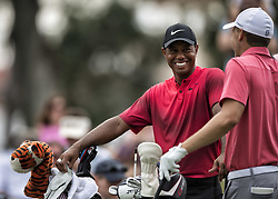 May 13, 2018 - Ponte Vedra Beach, FL, USA - The Players Championship 2018 at TPC Sawgrass..Tiger Woods talks with Jordan Spieth on #16 tee (Credit Image: © Bill Frakes via ZUMA Wire)