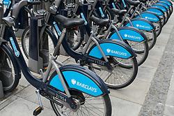 Racks of 'Boris's bikes' for rent, London