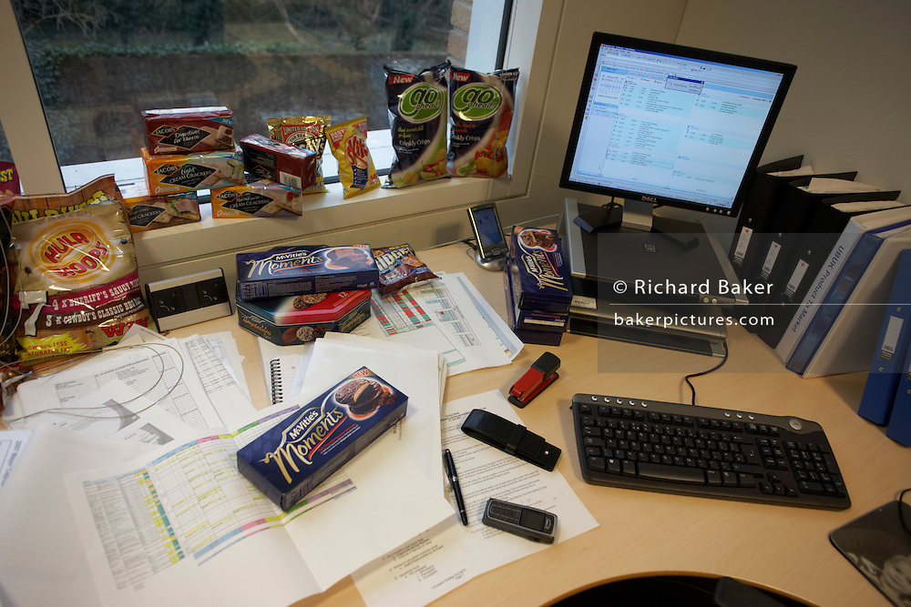Detail of a creative biscuit-maker executive's desk at the United Biscuits Group offices, Hayes London
