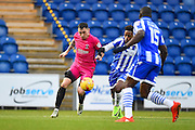 Hartlepool player Nathan Thomas controls the ball in the second half during the EFL Sky Bet League 2 match between Colchester United and Hartlepool United at the Weston Homes Community Stadium, Colchester, England on 25 February 2017. Photo by Ian  Muir.