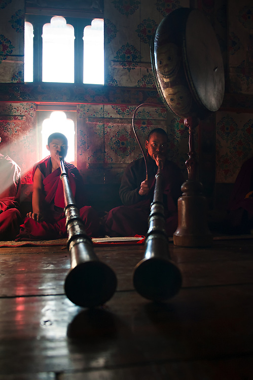 Monks practice for the Black Hat festival in Bumthang, Bhutan.