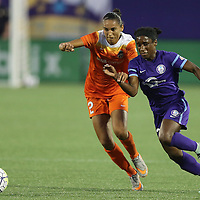 ORLANDO, FL - APRIL 23: Poliana Barbosa #2 of Houston Dash and Jasmyne Spencer #23 of Orlando Pride fight for the ball during a NWSL soccer matchat the Orlando Citrus Bowl on April 23, 2016 in Orlando, Florida. (Photo by Alex Menendez/Getty Images) *** Local Caption *** Poliana Barbosa; Jasmyne Spencer