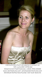 VISCOUNTESS LINLEY at a party in London on 18th June 2001.OPM 262