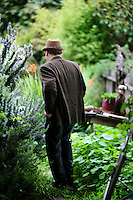 "Writer and poet August Kleinzahler, 60, walks through the backyard of his home, in San Francisco, Ca., on Friday, February 6, 2008. Kleinzahler recently published his tenth collection of poetry, ""Sleeping it off in Rapid City"" last year."
