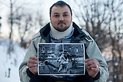 Elvis Causevic posing with the photograph which reconnected us 25 years after the Bosnian war. Elvis was a Bosnian refugee child I met in 1992 at the Varazdin refugee camp in Croatia (he was 6 years old) and with the help of Radio Free Europe and an appeal for Elvis to get in touch broadcasted on Bosnian television, social networks and on the RFERL Balkan Service web page it took just 12 hours to find Elvis, who lives now in Sarajevo, his new home after the war. He is married and has two children. Elvis originally came form the city of Foča and fled the war in 1992 with his mother, sister and grandmother for 18 days through the Bosnian mountains till they reached a save place at the refugee camp Varazdin in Croatia where they stayed for 3 years before leaving for a longer period of time to Munich in Germany before they returned 1999 to Bosnia.