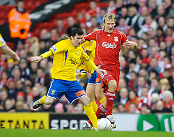 LIVERPOOL, ENGLAND - Saturday, January 26, 2008: Liverpool's Sami Hyypia and Havant and Waterlooville's Mo Harkin during the FA Cup 4th Round match at Anfield. (Photo by David Rawcliffe/Propaganda)