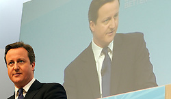 """© under license to London News Pictures. 06/03/2011: David Cameron addresses the audience at the Conservative Party's Spring Forum in Cardiff. Credit should read """"Joel Goodman/London News Pictures""""."""