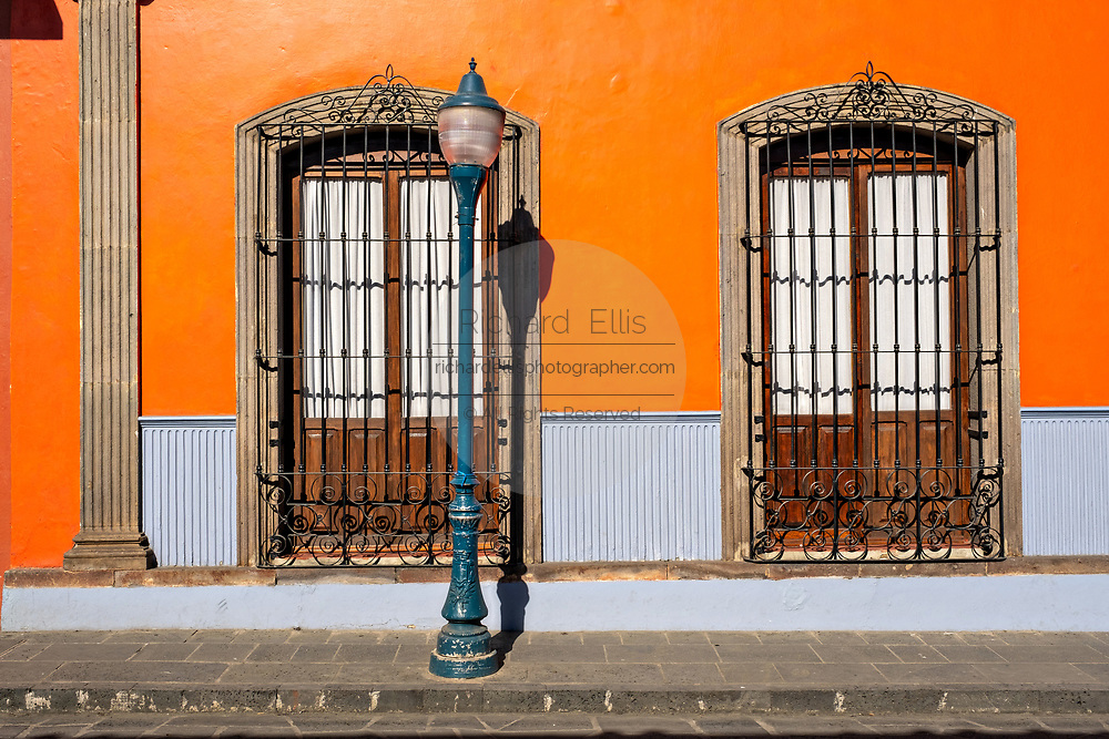 A colorful colonial style building in the central historic district of Coatepec, Veracruz State, Mexico.