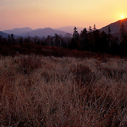 Kancamagus Pass. Late fall. Sunrise over the mountains.  White Mountain N.F., NH