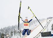 KUUSAMO, FINLAND - 2017-11-26: Charlotte Kalla jublar efter damernas l&auml;ngdkid&aring;kning 10km jaktstart under FIS World Cup Ruka Nordic p&aring; Ruka Stadium den 26 November, 2017 i Kuusamo, Finland.<br /> Foto: Nils Petter Nilsson/Ombrello<br /> ***BETALBILD***