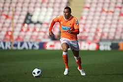 BLACKPOOL, ENGLAND - Wednesday, March 3, 2011: Blackpool's Matt Phillips in action against Liverpool during the FA Premiership Reserves League (Northern Division) match at Bloomfield Road. (Photo by David Rawcliffe/Propaganda)