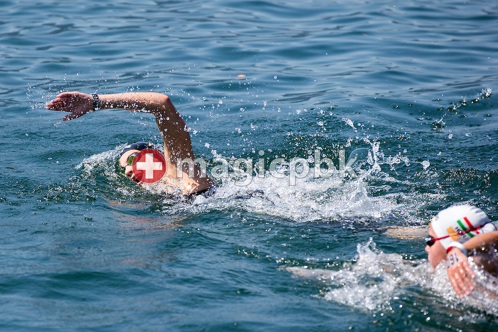 Jill BENNE of Switzerland competes in the Youth Girls 5km race during the LEN European Junior Open Water Swimming Championships held in the lake Maggiore (Lago Maggiore) at the Centro sportivo nazionale della gioventu in Tenero, Switzerland, Saturday, July 11, 2015. (Photo by Patrick B. Kraemer / MAGICPBK)