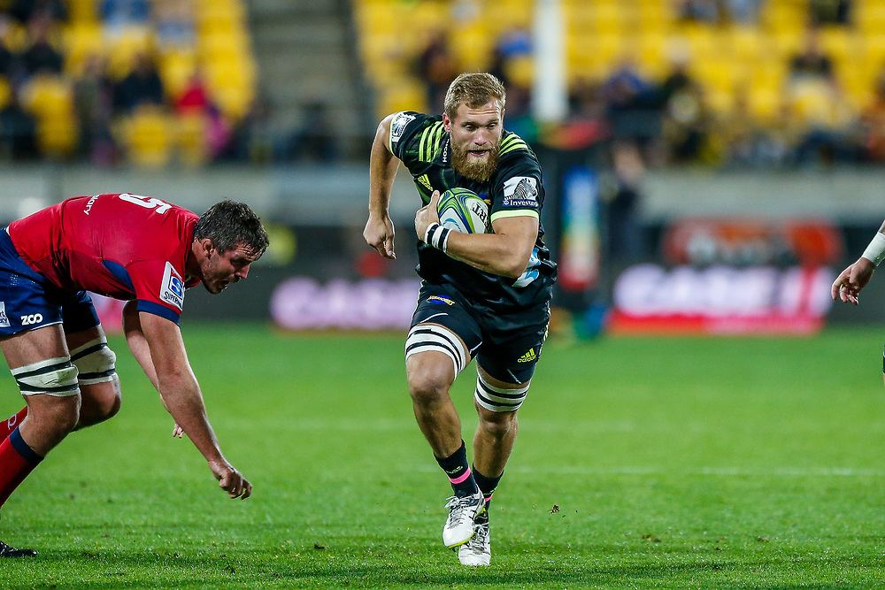 Brad Shields runs during the Super rugby union game (Round 14) played between Hurricanes v Reds, on 18 May 2018, at Westpac Stadium, Wellington, New  Zealand.    Hurricanes won 38-34.