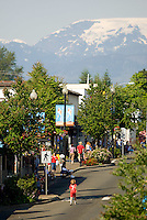 Main Street Courtenay with the trademark Comox Glacier in the background.  Courtenay, Vancouver Island, British Columbia, Canada