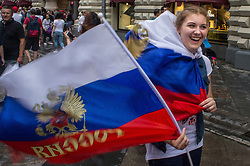 June 23, 2018 - Moscou, Moscow region, Russia - Russian football fans are happy to see the Russian football team win at the 2018 FIFA world Cup  (Credit Image: © Aleksei Sukhorukov via ZUMA Wire)