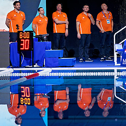 Coach Harry van der Meer of Netherlands (L), Ass coach Branko Mitrovic of Netherlands (2vl), Manager Hans Nieuwenburg of Netherlands (r) during Netherlands vs Malta on LEN European Aquatics Waterpolo January 21, 2020 in Duna Arena in Budapest, Hungary