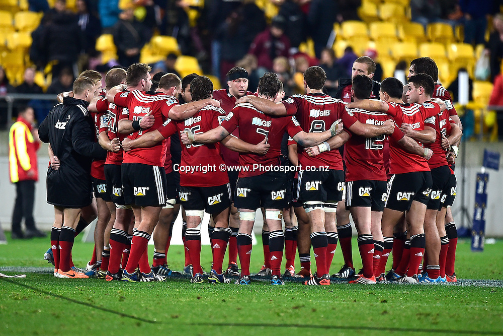 The Crusaders huddle after their loss during the Super Rugby - Hurricanes v  Crusaders rugby match at the Westpac Stadium in Wellington, New Zealand on the 28th of June 2014. Photo: Marty Melville/www.Photosport.co.nz