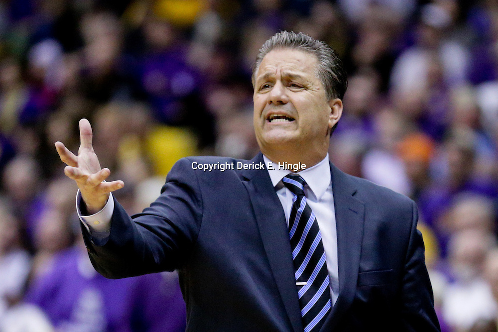 Jan 5, 2016; Baton Rouge, LA, USA; Kentucky Wildcats head coach John Calipari reacts to an officials call during the first half of a game against the LSU Tigers at the Pete Maravich Assembly Center. Mandatory Credit: Derick E. Hingle-USA TODAY Sports