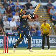 Glamorgan's Chris Cooke is thrown off balance<br /> <br /> Photographer Simon King/Replay Images<br /> <br /> Vitality Blast T20 - Round 8 - Glamorgan v Gloucestershire - Friday 3rd August 2018 - Sophia Gardens - Cardiff<br /> <br /> World Copyright © Replay Images . All rights reserved. info@replayimages.co.uk - http://replayimages.co.uk