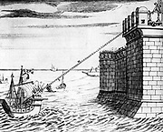 Archimedes (c287-212 BC) Greek mathematician and inventor. Reconstruction of Archimedes' burning mirror supposed to have been designed to burn Roman fleet attacking Syracuse in 212 BC. From Marius Bettinus 'Apiaria', 1642. Copperplate engraving