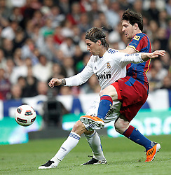 16-04-2011 VOETBAL: REAL MADRID - BARCELONA: MADRID<br /> Sergio Ramos, Lionel Messi <br /> ©2011-RHP/ EXPA/ Alterphotos/ ALFAQUI/ Cesar Cebolla<br /> *** NETHERLANDS ONLY ***