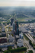 Nederland, Flevoland, Almere, 27-08-2013; Stadshart, met  de RABObank en USG (li), Station NS en WTC.<br /> Heart of the newly constructed city of Almere, the high-rise offices (WTC, Rabobank) and the railway station. <br /> luchtfoto (toeslag op standaard tarieven);<br /> aerial photo (additional fee required);<br /> copyright foto/photo Siebe Swart.