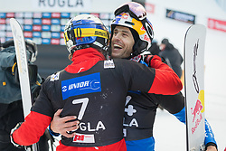 Karl Benjamin and Fischnaller Roland during the men's Snowboard giant slalom of the FIS Snowboard World Cup 2017/18 in Rogla, Slovenia, on January 21, 2018. Photo by Urban Meglic / Sportida