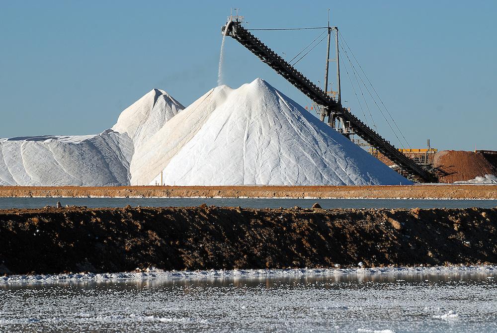 Dampier Salt - largest evaporative salt field in the southern hemisphere. Highway 1, Port Headland. The Pilbara, Western Australia 27 June 2006
