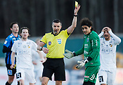 UPPSALA, SWEDEN - APRIL 18: Karim Fegrouch of IK Sirius FK is shown a yellow card by Bojan Pandzic, referee during the Allsvenskan match between IF Sirius FK and BK Hacken at Studenternas IP on April 18, 2018 in Uppsala, Sweden. Photo by Nils Petter Nilsson/Ombrello ***BETALBILD***