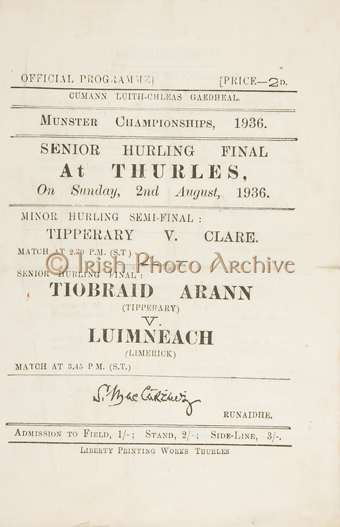 Munster Senior and Minor Hurling Championship Final,.02081936MSMHCF,.Senior Tipperary v Limerick,.Minor Tipperary v Clare,.02.08.1936, 08.02.1936, 2nd August 1936,..