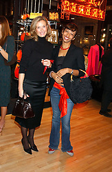 Left to right, PHOEBE MANNERS and ALISON VICTOR at a party tp celebrate the opening on Sac Freres at 7 Grafton Street, London W1 on 27th October 2005.<br /><br />NON EXCLUSIVE - WORLD RIGHTS