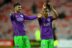 Eros Pisano of Bristol City and Bobby Reid of Bristol City celebrate the win over Sunderland - Mandatory by-line: Robbie Stephenson/JMP - 28/10/2017 - FOOTBALL - Stadium of Light - Sunderland, England - Sunderland v Bristol City - Sky Bet Championship