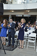 Garden City, New York, USA. May 31, 2017. Nassau County Democratic Nominating Convention at atrium of Cradle of Aviation Museum. Candidates include LAUREN CURRAN for Nassau County Executive, LAURA GILLEN for Hempstead Town Supervisor, SYLVIA CABANA for Hempstead Town Clerk, incumbent DOROTHY GOOSBY for Hemsptead Town Council 1st District, DOUGLAS MAYER, Hempstead Town Council 4th District, and SUE MOLLER for Town of Hempstead Council 6th District.