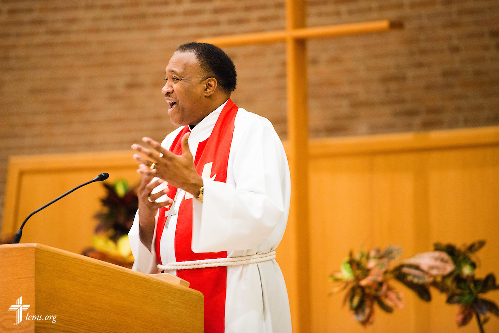 The Rev. Roosevelt Gray, director of LCMS Black Ministry, preaches at evening worship during the LCMS Specialized Pastoral Ministry Educational Event and Retreat at the Mercy Conference and Retreat Center on Wednesday, Oct. 29, 2014, in Frontenac, Mo. LCMS Communications/Erik M. Lunsford