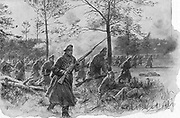 Russian infantry charging during Brusilov's (Broussiloff) campaign against Austria-Hungary, 1916. World War I