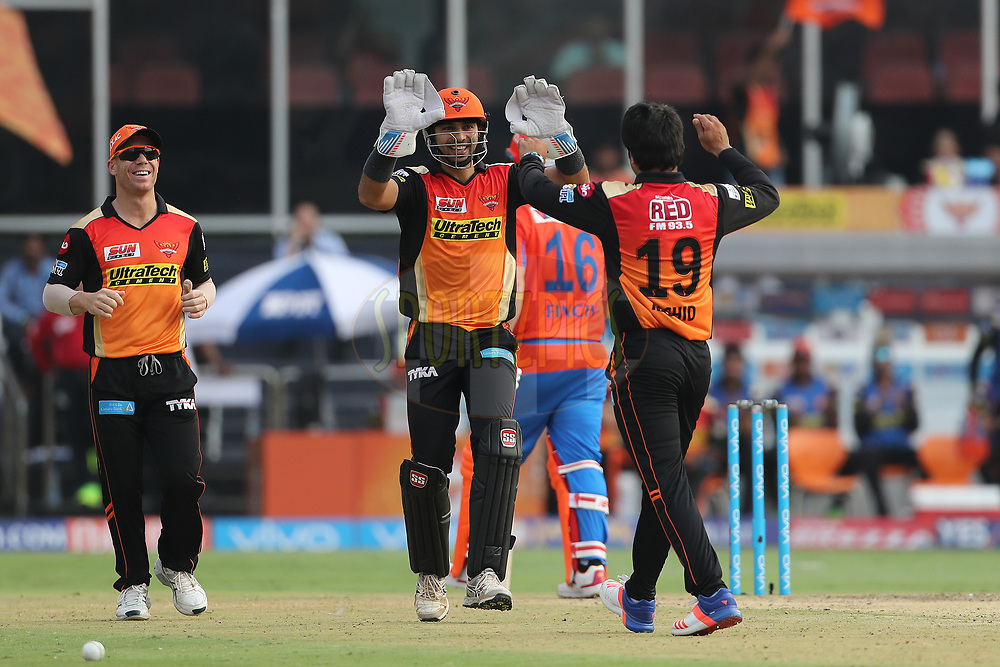Naman Ojha of the Sunrisers Hyderabad celebrates the wicket of Aaron Finch of the Gujarat Lions during match 6 of the Vivo 2017 Indian Premier League between the Sunrisers Hyderabad and the Gujarat Lions held at the Rajiv Gandhi International Cricket Stadium in Hyderabad, India on the 9th April 2017<br /> <br /> Photo by Ron Gaunt - IPL - Sportzpics