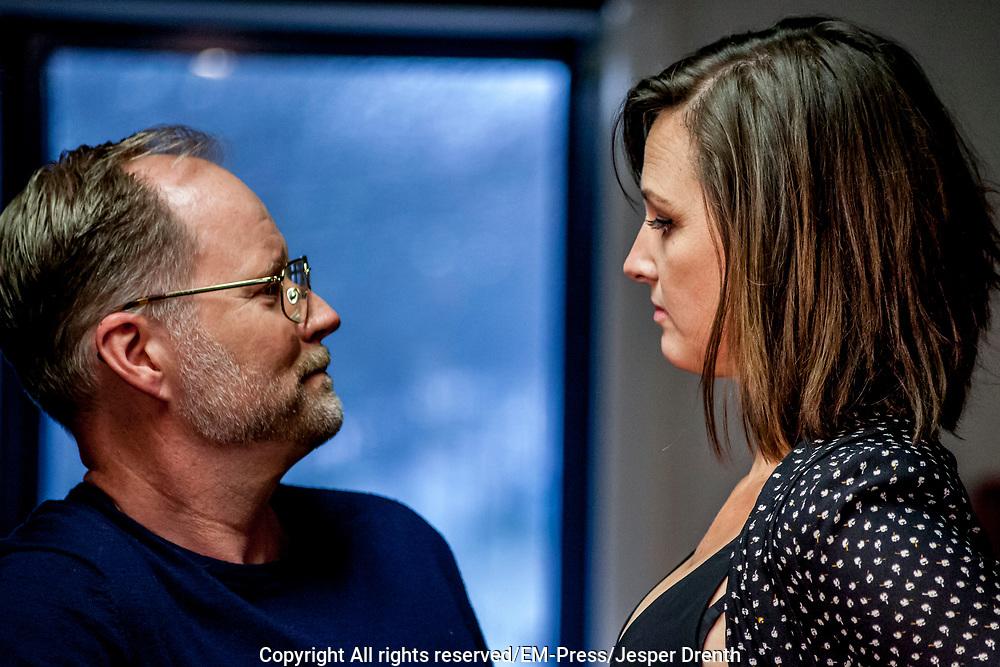 Perspresentatie van de musical The Full Monty<br /> <br /> Op de foto: Brigitte Heitzer , Ad Knippels