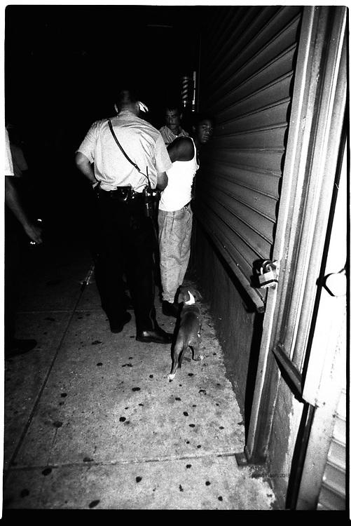 Police arrest a dealer after finding drugs on him.