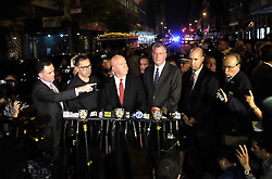 NEW YORK, Sept. 18, 2016 (Xinhua) -- New York Police Department Commissioner James O'Neill (3rd L) and New York City Mayor Bill de Blasio (3rd R) give a news conference near the blast site in New York, U.S., Sept. 17, 2016. New York City Mayor Bill De Blasio said Saturday that there is ''no evidence at this point of a terror connection'' to an explosion in New York Saturday evening.  (Xinhua/Li Muzi) (yy) (Credit Image: © Li Muzi/Xinhua via ZUMA Wire)