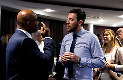 Kriss Akabusi mingles with guests after his talk at the Bristol Sport Big Breakfast - Mandatory by-line: Robbie Stephenson/JMP - 29/07/2016 - FOOTBALL - Ashton Gate - Bristol, England - Bristol Sport Big Breakfast - Kriss Akabusi