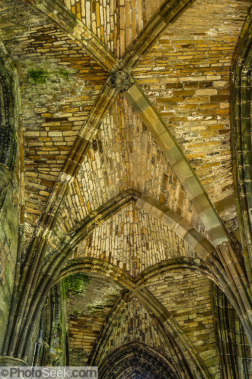 Vaulted stone ceiling. Visit spectacular Whitby Abbey which dates from 657-1538 AD, in the fishing port of Whitby, in North Yorkshire county, England, United Kingdom, Europe. This Christian monastery later became a Benedictine abbey, which was confiscated by the crown during the Dissolution of the Monasteries under Henry VIII in 1537-8. The abbey church overlooks the North Sea on East Cliff above Whitby. Whitby Abbey became famous in fiction by Bram Stoker's 1897 novel Dracula, as Dracula came ashore as a creature resembling a large dog who climbed the dramatic 199 steps leading to the ruins above the Esk River. England Coast to Coast hike day 13 of 14. [This image, commissioned by Wilderness Travel, is not available to any other agency providing group travel in the UK, but may otherwise be licensable from Tom Dempsey – please inquire at PhotoSeek.com.]
