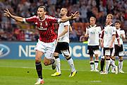 © Filippo Alfero<br /> Milan vs Viktoria Plzen - Champions League 2011 / 2012<br /> Milano, 28/09/2011<br /> sport calcio<br /> Nella foto: esultanza Zlatan Ibrahimovic