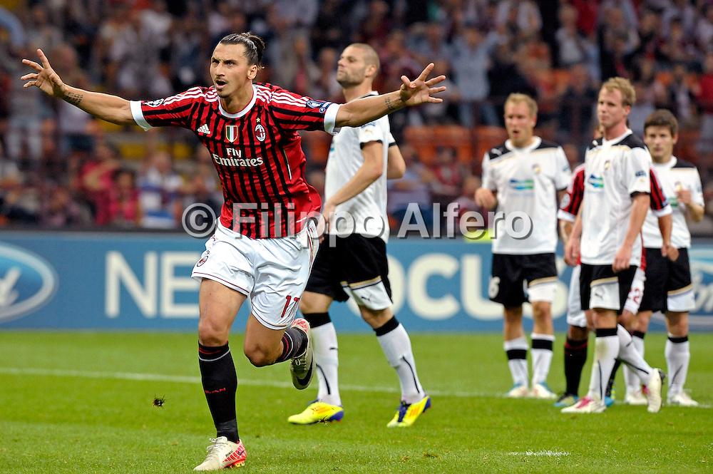 &copy; Filippo Alfero<br /> Milan vs Viktoria Plzen - Champions League 2011 / 2012<br /> Milano, 28/09/2011<br /> sport calcio<br /> Nella foto: esultanza Zlatan Ibrahimovic